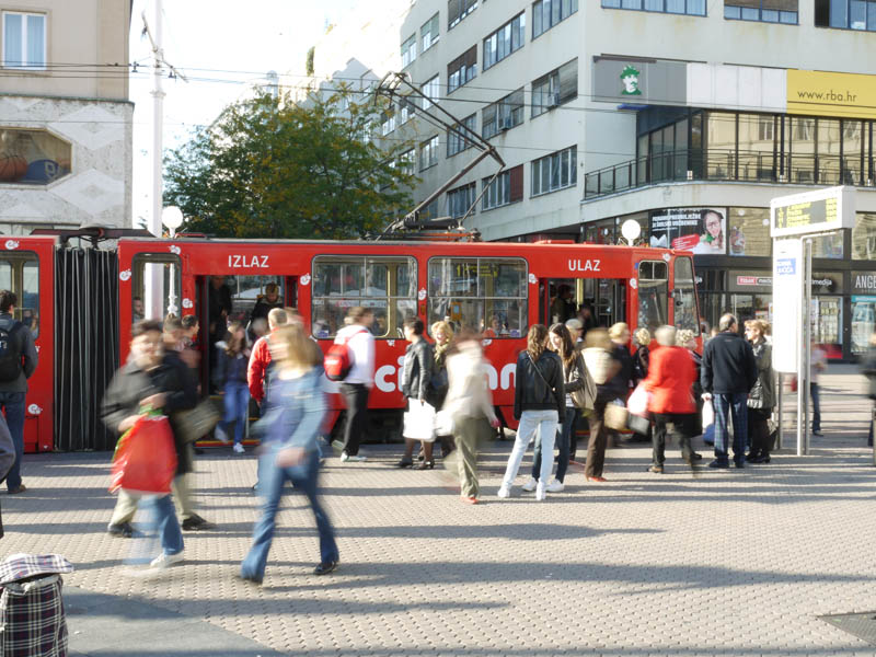 Busy people going places in Zagreb