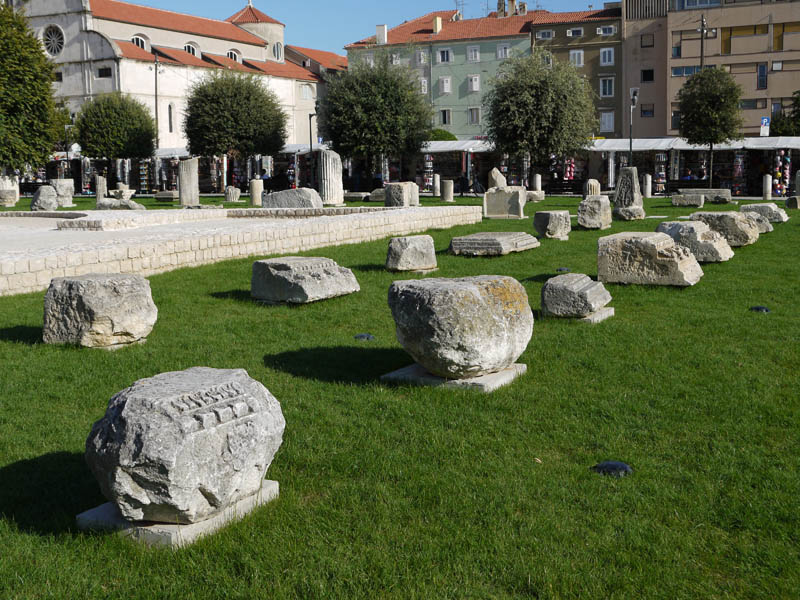 Roman artifacts in Zadar.